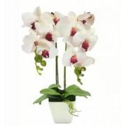 Aranjament Floral Orhidee Artificiala in Ghiveci cu 2 Tulpini Aspect Natural Culoare Roz
