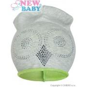 NEW BABY Jarní čepička New Baby sova šedo-zelená