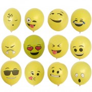 Yarui-World® 100 Pcs 12 Expression Emoji Visage Ballons Bannières Jouets Anniversaire Fête