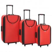 vidaXL 3 db piros puhafalú Oxford-szövetes gurulós bőrönd