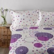 Lenjerie de pat Dormisete bumbac 100 Dots Lila pentru pat 2 persoane 4 piese 180x215 / 50x70 cearceaf pat uni Roz Fuchsia