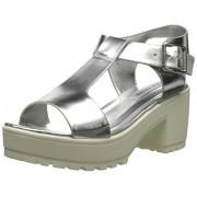Steve Madden Women's Stefano Platform Sandal, Silver, 8.5 M US
