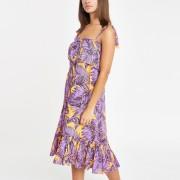 River Island Womens Purple leaf print oversized midi beach dress (L)