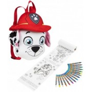 Rucsac din material Paw Patrol Marshall si set de creioane colorate