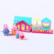 Peppa Pig Family Toys With Peppa Pig House set 4 peppa pigs action figure with the house set