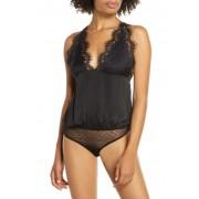 Free People Melrose Lace Trim Open Back Bodysuit BLACK