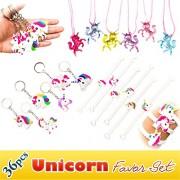Rainbow Unicorn Toy Novelty Birthday Party Favor Set, 36pcs, Unicorn Bracelets, Necklaces, Keychains
