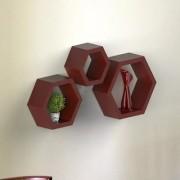 Onlineshoppee Fancy Set of 3 Hexagonal Shape MDF Wall Shelf Big Size ( 10.5 x 4x 10.5) inch Color- Brown