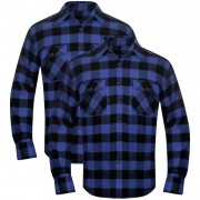 vidaXL Camisa trabalho flanela p/ homem xadrez azul-preto, 2 pcs, XL