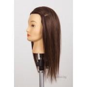 Фризьорска учебна глава - естествен косъм 40см 705060