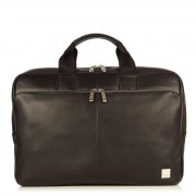 Knomo Newbury Leather Briefcase Black 15 inch
