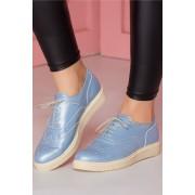 Pantofi sport porosi albastri cu siret