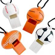 Kidsco Silbatos de plástico con cordón 12 silbato es de 5 cm, cordón es de 61 cm, varios bolas de deporte para niños grandes regalos de fiesta, divertido, juguete, regalo, premio para festivales de deportes