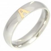 Aliança em Aço Inox 5mm com 1 Letra em Ouro