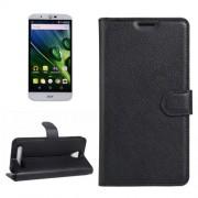 Acer Liquid Z6 Case, Litchi Texture Horizontal Flip PU Leather Case with Holder & Card Slots & Wallet(Black)