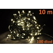 Karácsonyi LED fényfüzér 10m - meleg fehér, 100 dióda
