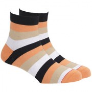 Soxytoes Wide Stripe 2 Black Cotton Ankle Length Pack of 1 Pair Striped for Men Casual Socks (STS0005C)
