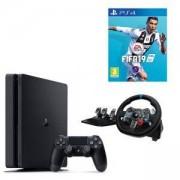 Конзола PlayStation 4 Slim 500GB Black, Sony PS4+Игра FIFA 19 за PlayStation 4 Волан Logitech G29 Driving Force Racing