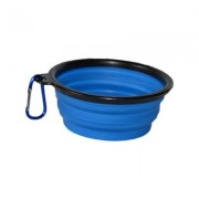 Cozy Courier Pet Products Collapsible Travel Dog & Cat Bowl, Blue