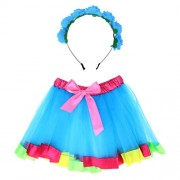 FENICAL Girls Rainbow Tutu Skirt Set with Headband Princess Girl Tutu Outfit Baby Girls Birthday Outfit Set - Size S 1Y-2Y