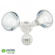 White Twin Exterior PVC Spot Light w/Sensor And Energy Saving Globes