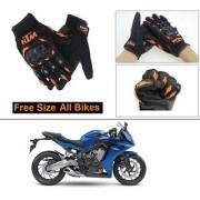 AutoStark Gloves KTM Bike Riding Gloves Orange and Black Riding Gloves Free Size For Honda CBR 650F