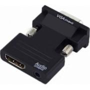 Adaptor OEM VGA tata la HDMI mama cu audio Negru