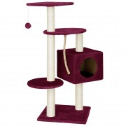 [en.casa]® Škrabadlo pro kočky - 40 x 40 x 113 cm - bordová