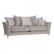 Oak Furnitureland Nickel Fabric Sofas - Studded 4 Seater Sofa - Quartz Range - Oak Furnitureland