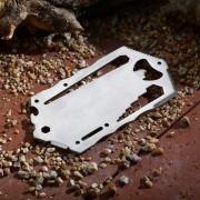de acero inoxidable portatil al aire libre tarjeta de herramienta multifuncional - plata