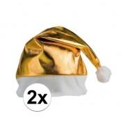Bellatio Decorations 2x stuks gouden glimmende kerstmutsen