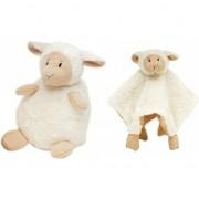 Happy Horse Kraamcadeau schaapjes/lammetjes ivoor wit Happy Horse knuffeldoekje en zittende knuffel 26 cm