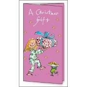kerst cadeaukaart met envelop woodmansterne quentin blake - a christmas gift - meisje met cadeau