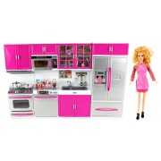 My Modern Kitchen Full Deluxe Kit Battery Operated Toy Doll Kitchen Playset w/ Toy Doll, Lights, Sou
