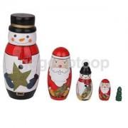 Alcoa Prime 5x Santa Claus/Snowman/Xmas Tree Nesting Dolls Christmas Russian Matryoshka