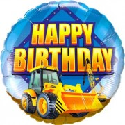 "Qualatex ""Birthday Construction Zone Foil Round 18in/45cm"""