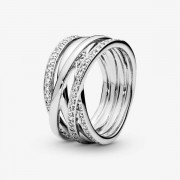 PANDORA Sparkling & Polished Lines Ring, Sieraden uit Sterling zilver, Cubic Zirconia, Clear, 190919CZ-60