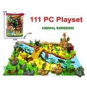 Exclusive Animal Play Set (111 PCS) Animal Kingdom Jungle Animal Playset Animal Figures, Mini Jungle Animals Toys Set Realistic Wild Animal Learning Toys Set for Kids Forest Farm Animals Toys Playset