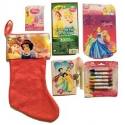 "Disney Princess Christmas Stocking Bundle ~ Christmas Princesses 18"" Satin Cuff Felt Stocking, Coloring Pad, Diary with Marker, Double-sided Crayons, Tattoos and Stickers!"