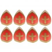 Merkloos 8x Sinterklaas kinder mijter van karton