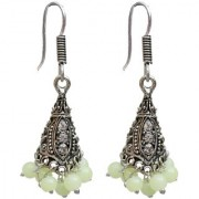 Lucky Jewellery Trendy Parrot Green Color Oxidised Plating Earring For Girls & Women