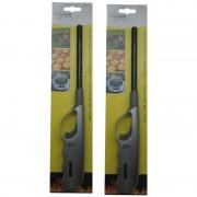 Merkloos 2x stuks gas/bbq/keuken storm aanstekers 27 cm