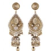 Lucky Jewellery Golden Stud With White Stone Partywear Jhumki