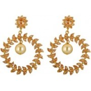 Spargz AD Stone LCT Color Gold Plated Wedding Party Flower Leaf Earrings For Women Diamond Brass Dangle Earring