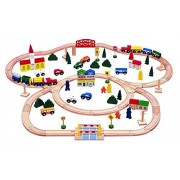 100 Piece Triple Loop Wooden Train Set (Inc. 16 Trains And Cars!!) 100% Compatible With All Major Brands Including Thomas Wooden Railway System By Kids Destiny