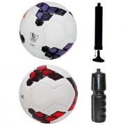 Combo of Premier League Purple/White + Premier League Red/Purple Football (Size-5) with Air Pump & Sipper