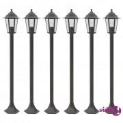 vidaXL Vrtna stupna svjetiljka od aluminija 6 kom E27 110 cm brončana