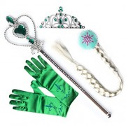 L-Peach Girls Princess Lilac Dress Up Party 4 Piece Gift Set Accessories Gloves Tiara Wand and Wig Hoop Braids
