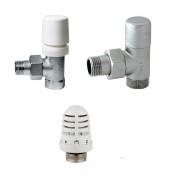 RCR-Poletti Kit Termostatico Valvola e Detentore bianchi per termoarredo RCR POLETTI