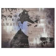 Tableau design 'AUDREY' Hepburn toile imprimée 120x90cm
